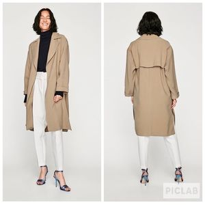 Zara Flowing Trench Coat Jacket Sz XS
